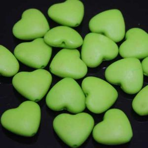 Beads, Acrylic, Light green, Heart shape, 12mm x 19mm x 4mm, 15g, 25 Beads, (SLZ0029)